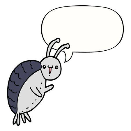 cartoon beetle with speech bubble Çizim