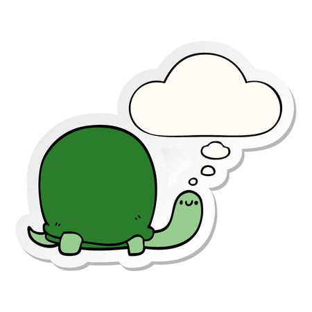 cute cartoon tortoise with thought bubble as a printed sticker