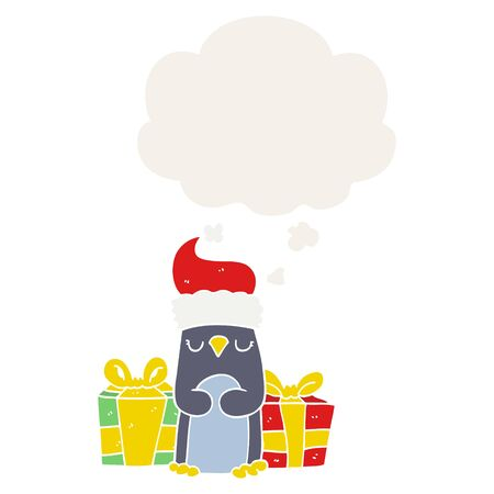 cute christmas penguin with thought bubble in retro style