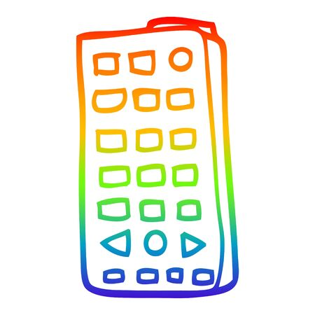 rainbow gradient line drawing of a cartoon remote control