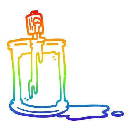 rainbow gradient line drawing of a cartoon spray can