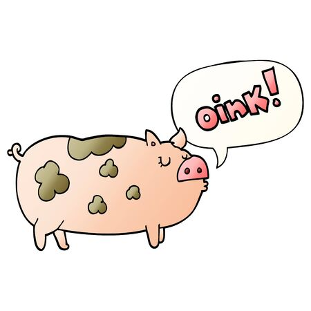 cartoon oinking pig with speech bubble in smooth gradient style Ilustração