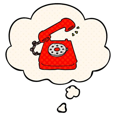 cartoon old telephone with thought bubble in comic book style