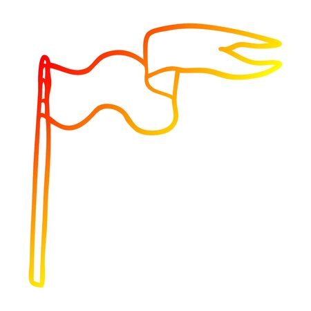 warm gradient line drawing of a cartoon flag Illustration