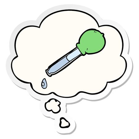 cartoon pipette with thought bubble as a printed sticker Ilustração