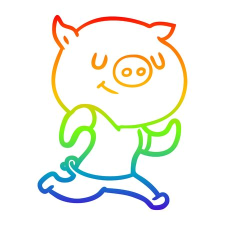 rainbow gradient line drawing of a happy cartoon pig running  イラスト・ベクター素材