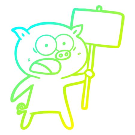 cold gradient line drawing of a cartoon pig protesting