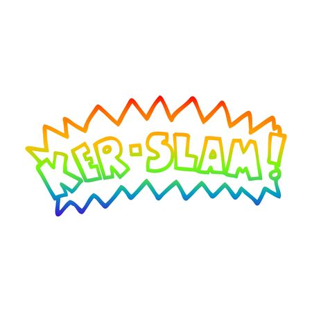 Dibujo de la línea de gradiente de arco iris de una caricatura de palabras ker slam