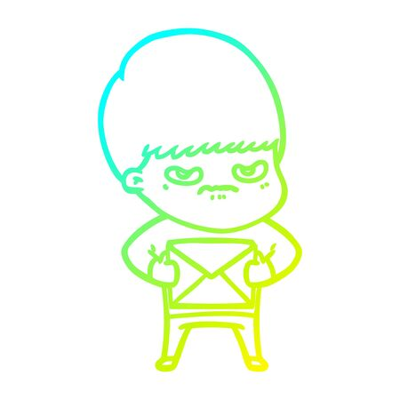 cold gradient line drawing of a angry cartoon boy