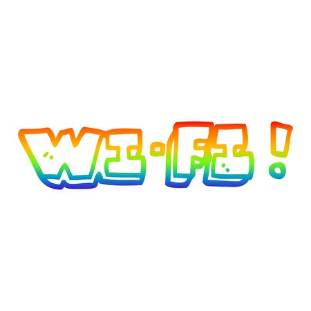rainbow gradient line drawing of a cartoon wifi Illustration