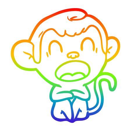 rainbow gradient line drawing of a yawning cartoon monkey Illusztráció