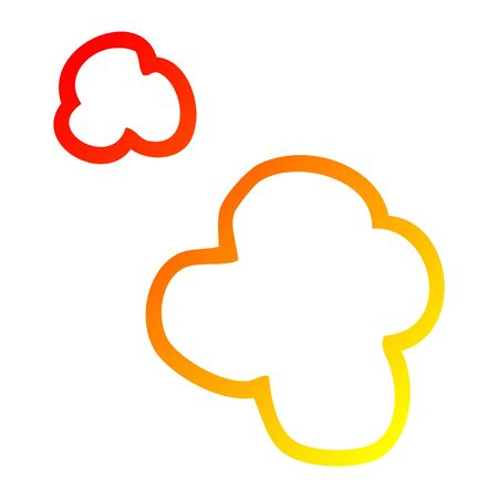 warm gradient line drawing of a cartoon poof of smoke