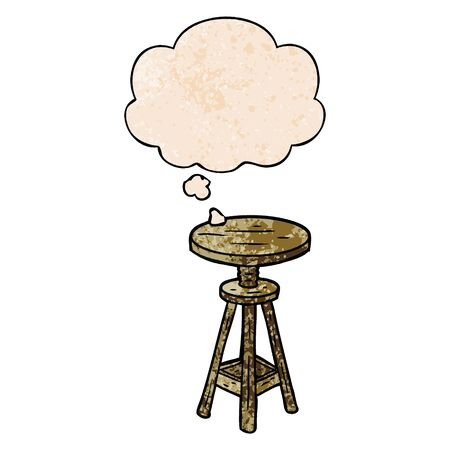 cartoon artist stool with thought bubble in grunge texture style