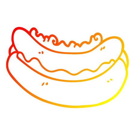 warm gradient line drawing of a cartoon hotdog in a bun