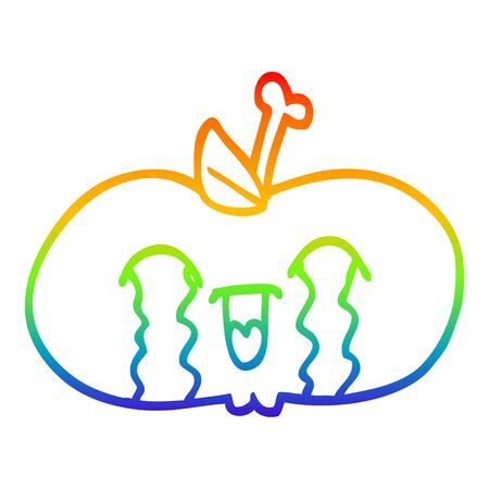 rainbow gradient line drawing of a cartoon of a sad apple