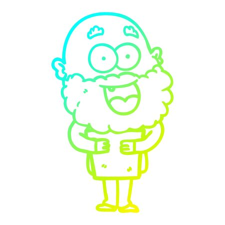 cold gradient line drawing of a cartoon crazy happy man with beard and book