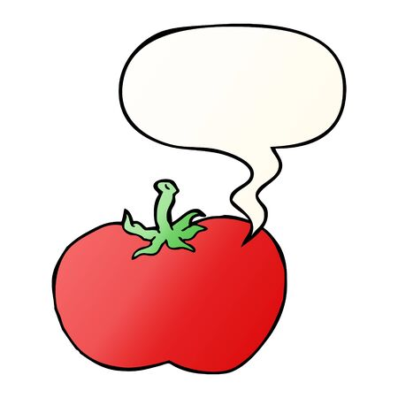 cartoon tomato with speech bubble in smooth gradient style Illustration