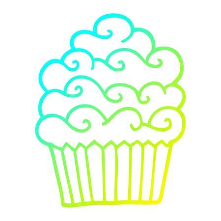 cold gradient line drawing of a cartoon vanilla cupcake
