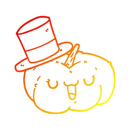 warm gradient line drawing of a cartoon pumpkin wearing hat Illustration