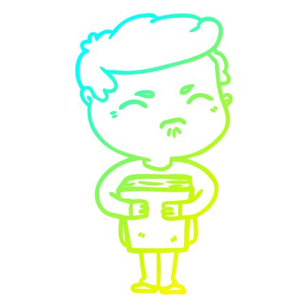 cold gradient line drawing of a cartoon annoyed man with book 스톡 콘텐츠 - 128319590