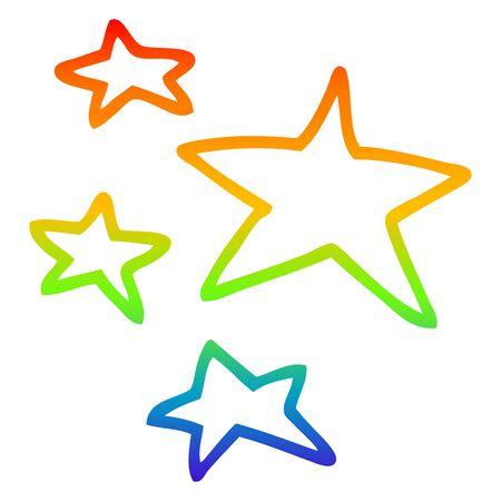 rainbow gradient line drawing of a cartoon stars Illusztráció