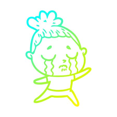 cold gradient line drawing of a cartoon crying woman