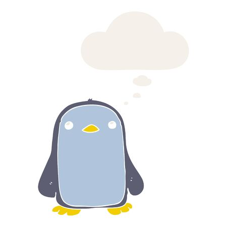 cute cartoon penguin with thought bubble in retro style