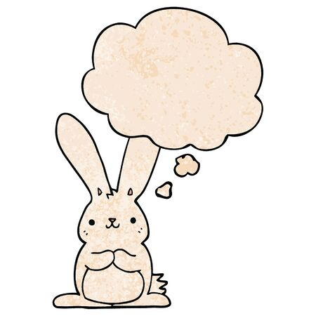 cartoon rabbit with thought bubble in grunge texture style