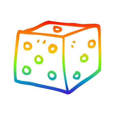 rainbow gradient line drawing of a cartoon red dice