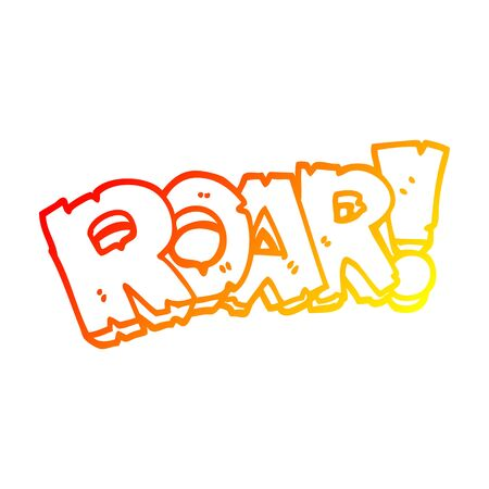 warm gradient line drawing of a cartoon roar sign