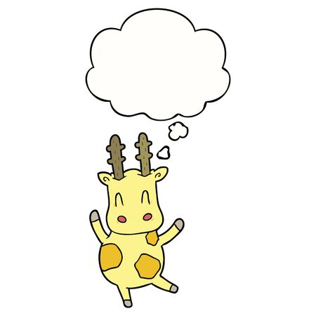 cute cartoon giraffe with thought bubble