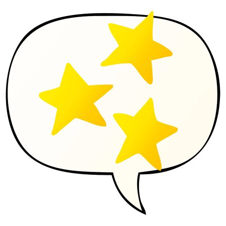 cartoon stars with speech bubble in smooth gradient style