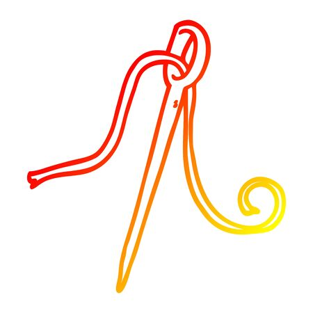 warm gradient line drawing of a cartoon needle and thread