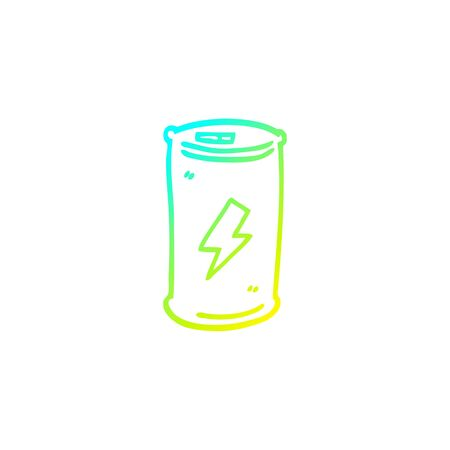 cold gradient line drawing of a cartoon energy drink Illustration