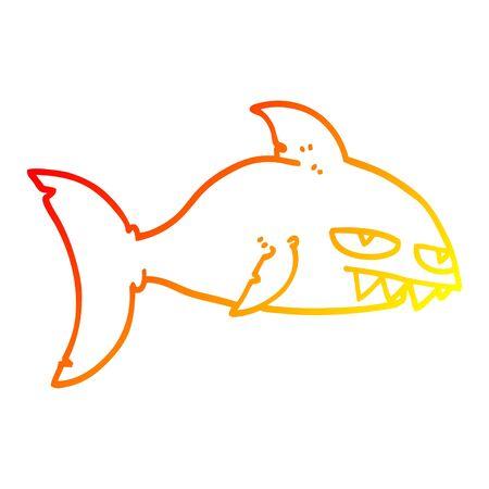 warm gradient line drawing of a cartoon deadly shark Иллюстрация