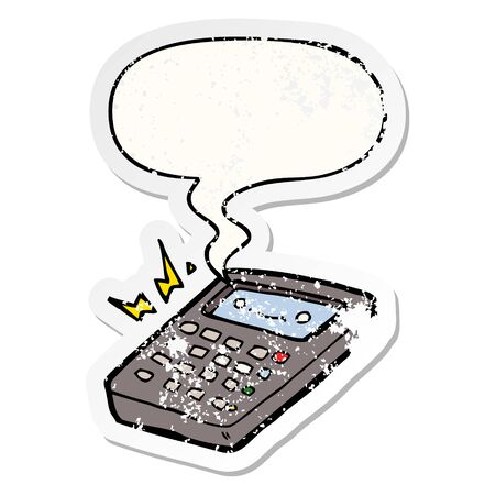 cartoon calculator with speech bubble distressed distressed old sticker 스톡 콘텐츠 - 128328388