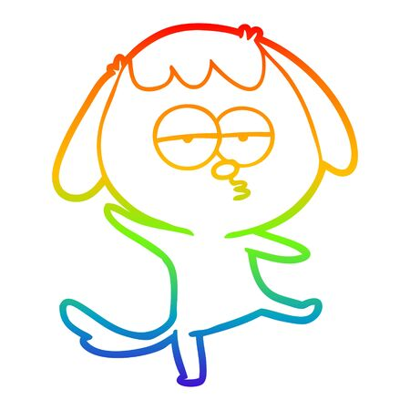 rainbow gradient line drawing of a cartoon bored dog