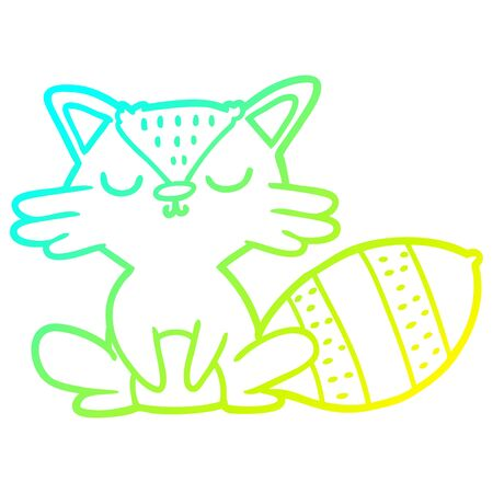 cold gradient line drawing of a cute cartoon raccoon