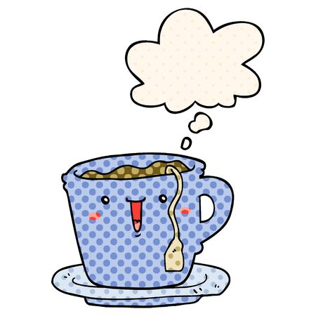 cute cartoon cup and saucer with thought bubble in comic book style