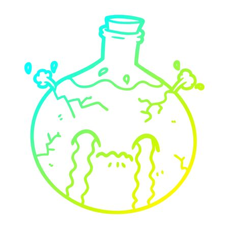 cold gradient line drawing of a cartoon cracking potion