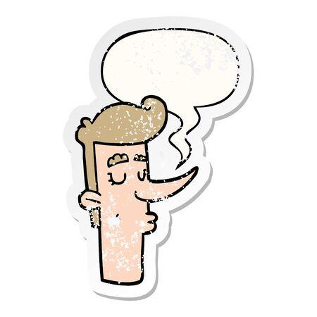 cartoon arrogant man with speech bubble distressed distressed old sticker