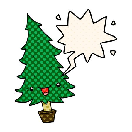 cute cartoon christmas tree with speech bubble in comic book style