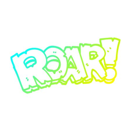 cold gradient line drawing of a cartoon roar sign
