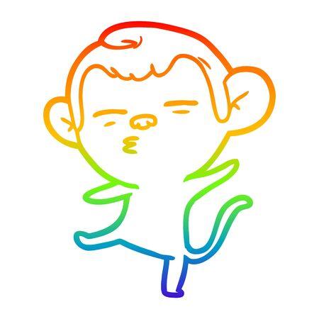 rainbow gradient line drawing of a cartoon suspicious monkey Vetores