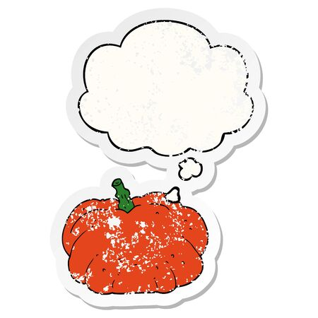 cartoon pumpkin with thought bubble as a distressed worn sticker