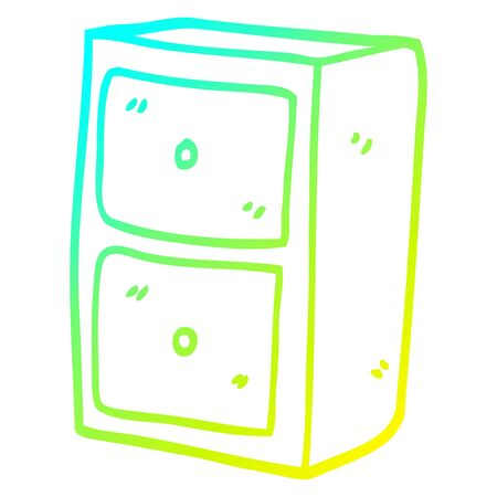cold gradient line drawing of a cartoon filing cabinet