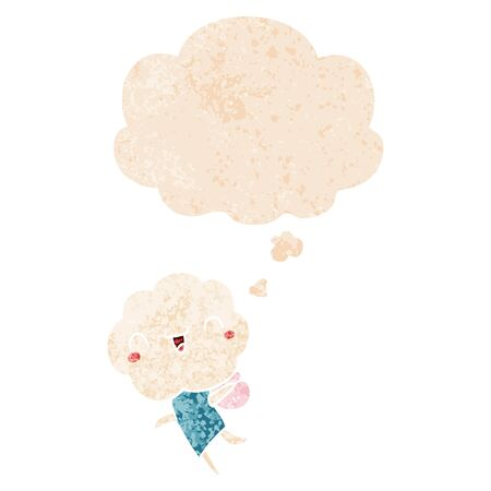 cute cartoon cloud head creature with thought bubble in grunge distressed retro textured style Illusztráció