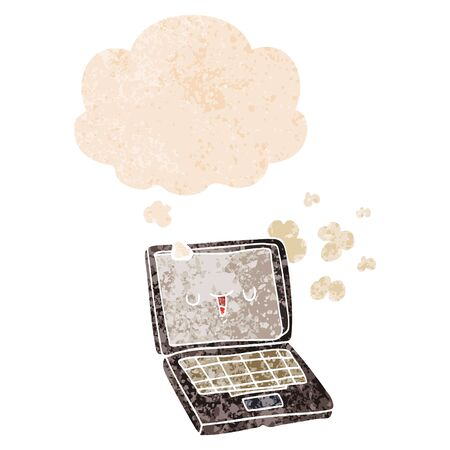 cartoon computer with thought bubble in grunge distressed retro textured style