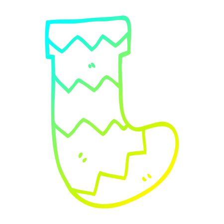 cold gradient line drawing of a cartoon christmas stocking