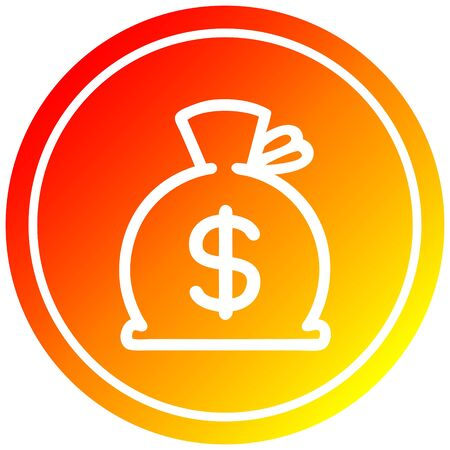 sack of money circular icon with warm gradient finish